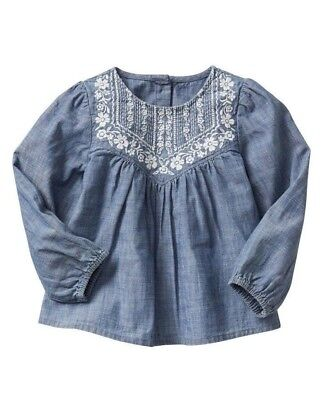 Baby Gap Girl Embroidered Chambray Long-Sleeve Top Size  3T 4T 5T