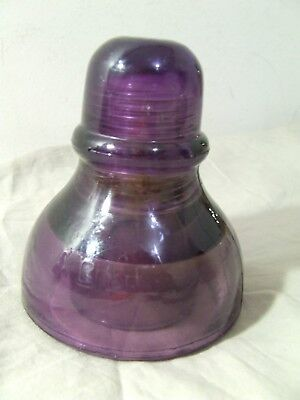 Vintage Agee Purple Glass Insulator - Power Electrical Telephone