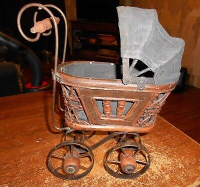 small baby buggy decoration wood and metal NOT AN ANTIQUE used