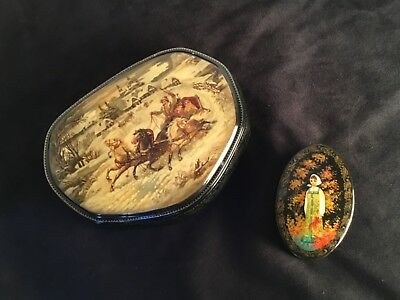 Fedoskino Troika Signed and Dated & Tiny Palekh Style Russian Lacquer Boxes