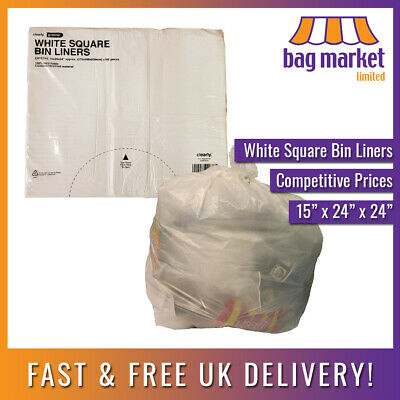 White HDPE Square Bin Liners! | 15 x 24 x 24"