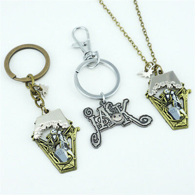 Anime The Nightmare Before Christmas Keychain Necklace Pendant Cosplay Fans Gift