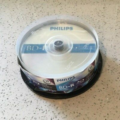 25 New Philips 4X Blu-ray BD-R 25GB 135 HDmin 1-6x Speed NEW OPEN Free Shipping!