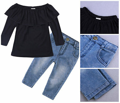 2pcs Toddler Baby Girls autumn Clothes Set one shoulder Top & jeans kids Outfits