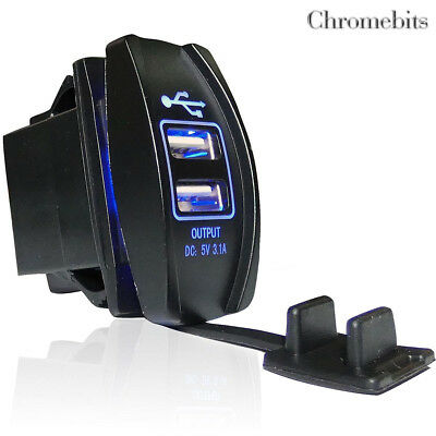 Universal Waterproof Dual USB Car Charger Blue Led Socket Outlet 3.1 Amp 12v