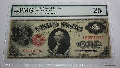 1917 1 Dollar  Legal Tender Note Sawhorse Pmg25 Very Fine