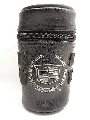 Vintage Cadillac Accessories Black Leather ? or Faux  Zippered & Lined Holder