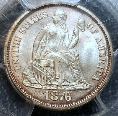 #~☆AWESOME!☆~ MS-64 1876 Seated Liberty Dime PCGS CHEAPEST one on Ebay!!!