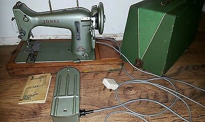 Vintage Jones Electric Sewing Machine Family C S Model E & Instructions