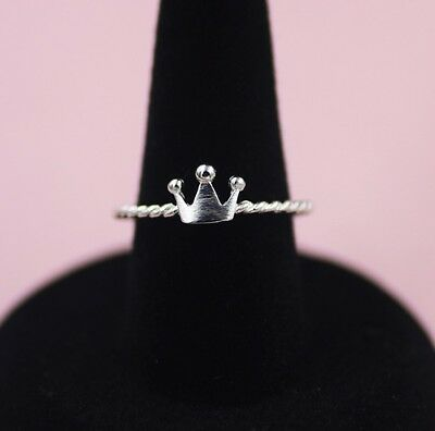 925 sterling silver simple little crown adjustable ring birthday Christmas gift