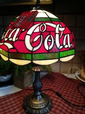 """Vtg Coca Cola Stained Glass Table Lamp W/tag....20""""tall 12"""" Shade Ornate Base"""