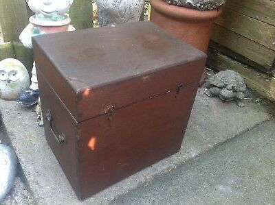 Antique  c1920`s Hand Made Solid Wood Deed Box Brass Side Handles