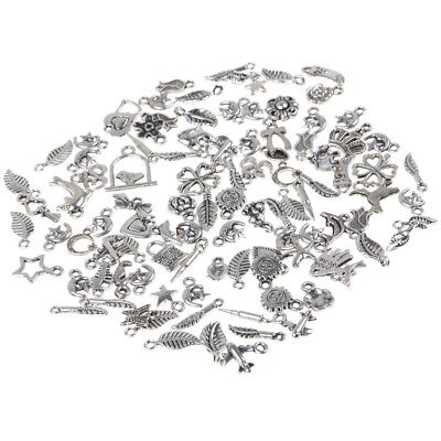 Goody Wholesale 100pcs Bulk Lots Tibetan Silver Mix Charm Pendants Jewelry DIY