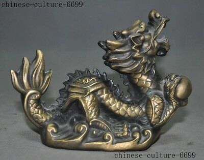 Old China Fengshui Bronze Loong Animal Lucky Dragon Play Bead Auspicious Statue
