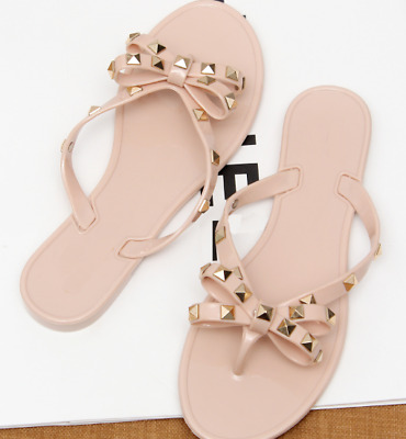 79fb176ea Bowknot Crystal Thong Sandals Summer Clinch Bolt Flat Women Jelly Flip Flop