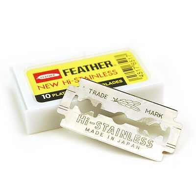 10 x Feather Hi-Stainless Double Edge Safety Razor Blades Platinum Coated