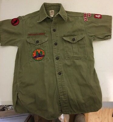 Vintage 60's Boy Scout Sanforized Texas SS Shirt Patched Size 34