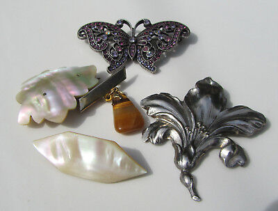 Lot Of 5 Vintage / Antique Brooches / Pins