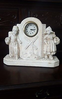 Antique Art Deco Plaster Wind up Mantle Clock