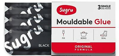 Sugru Mouldable Glue - Family-Safe | Skin-Friendly Formula - Black 3-Pack