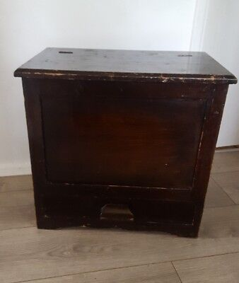 Edwardian Mahogany coal wood box / wine cooler - with storage draw RARE