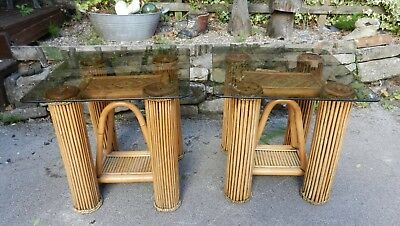 Top Quality Pair Of Cane & Carved Wood Glass Top Side Tables - Good Condition