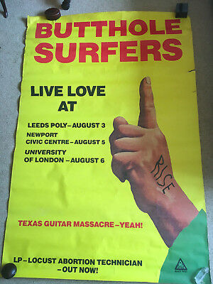 Butthole Surfers Poster First UK Tour Promotion 1m x 1.5m Large   approx late 80