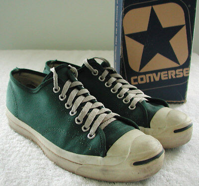 Vintage Converse Jack Purcell USA Made Green Sneakers Mens US 8.5 + VTG Box ebbffd5ab