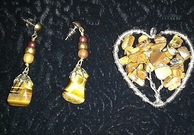 Lot Of Genuine Tiger Eye Pendant And Matching Earrings - New - F/s