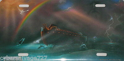 'New Beginning' - Dolphin & Orca HD License Plate with Noah's Ark - David Miller