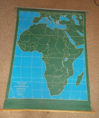 Webber Costello Large Pull-Down Chalkboard Outline Map of Africa & Med Classroom