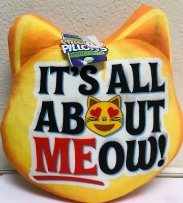 "Emoji Pillows ""It's All About MEow"" Heart Eyes Cat Emoji Plush"