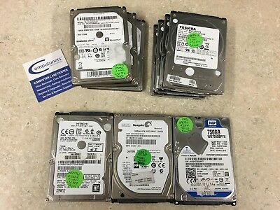 "Lot of 10 2.5"" 750GB 5400RPM Laptop Hard Drive Mix Brands - Tested"