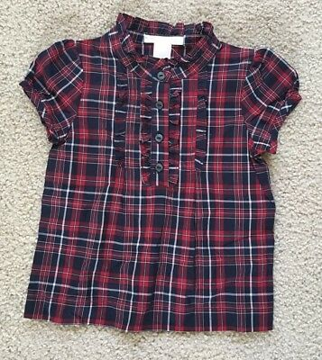 Janie and Jack HOLIDAY TRADITIONS 18-24 months NWT Red/blue plaid ruffle top !!