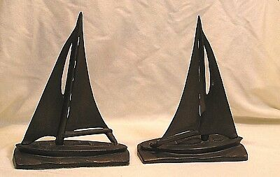 vintage art deco style cast bronze pair of sailboat bookends - book ends