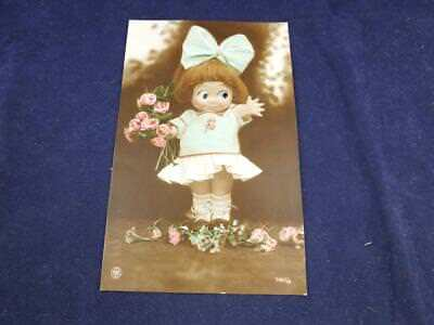 Vintage Novelty Postcard Moving Eyes Girl with Flowers.