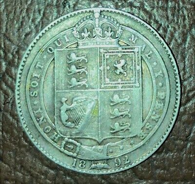 1892 Silver Shilling Coin Great Britain World Foreign Estate England