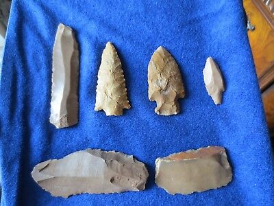 6 Assorted Neolithic Blade Tools Arrow points, Samara Culture, Israel, 4000 BC