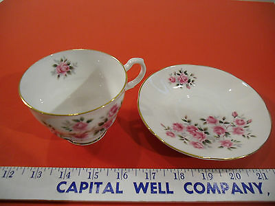 Queen's Fine Bone China Tea Cup & Saucer Set, Rosina China Co., Pink Roses - EUC