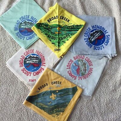 Lot of 6 early Broad Creek Scout Camps neckerchiefs. Free shipping!