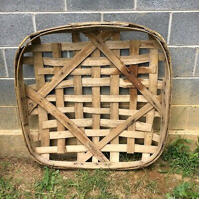 Antique Primitive Handmade Tobacco Basket PLANTERS NEWPORT Yellow Band Verygood
