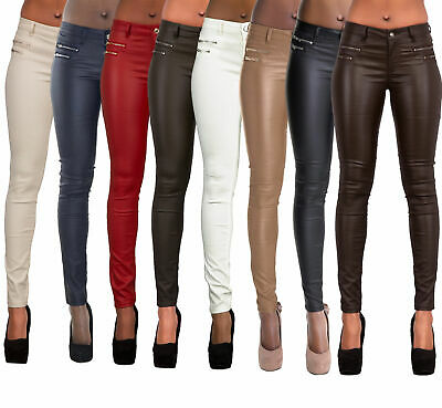 WOMEN'S FAUX LEATHER TROUSERS Wet Look Skinny Slim Jeans Candy Color UK  6-14 - EUR 21,45   PicClick FR