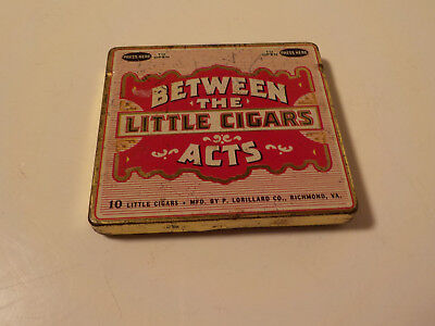 "Vintage ""Between The Acts"" Little Cigars Empty Tin  Good Color Graphics"