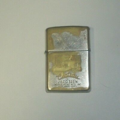 1965 ZIPPO ADV. LIGHTER w/ Box.ENGRAVED. JACOBSEN Mobile Home. Vintage Florida.