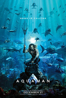 AQUAMAN MOVIE POSTER 2 Sided ORIGINAL Advance 27x40 JASON MOMOA AMBER HEARD