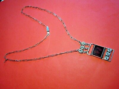 Imperial Russian 84 Silver Pendant with a stone on a chain  Faberge design