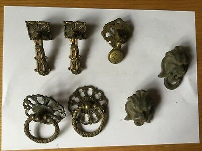 7  Antique vintage  Brass /  iron Drawer cabinet Handles Pulls