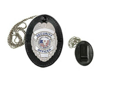 Oval leather belt badge holder. Includes chain for hanging and FREE SHIPPING!