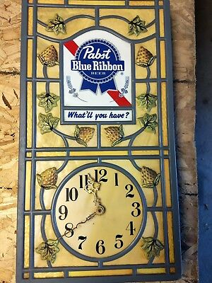 Vintage Rare PABST BLUE RIBBON Beer Clock Sign PBR Nice!