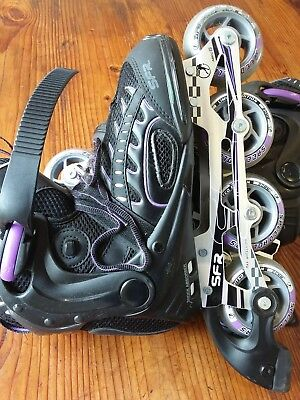 SFR Air ABEC 5 RX XT. Recreational Inline Skates - Black / purple. Uk sized 7.